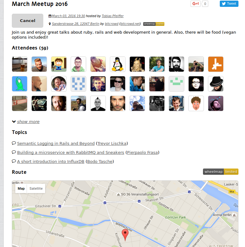 Our meetup page - containing all important information at a glance: time, venue (with map), topics, attendees and links to share